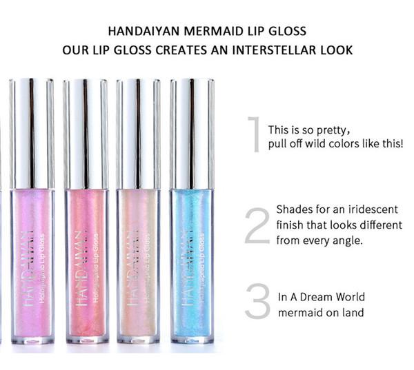 HANDAIYAN 6 couleurs lueur miroitement de scintillement sirène Lipgloss Lip Tint métal imperméable à l'eau liquide hydratant long durable Brillant à lèvres Baume à lèvres