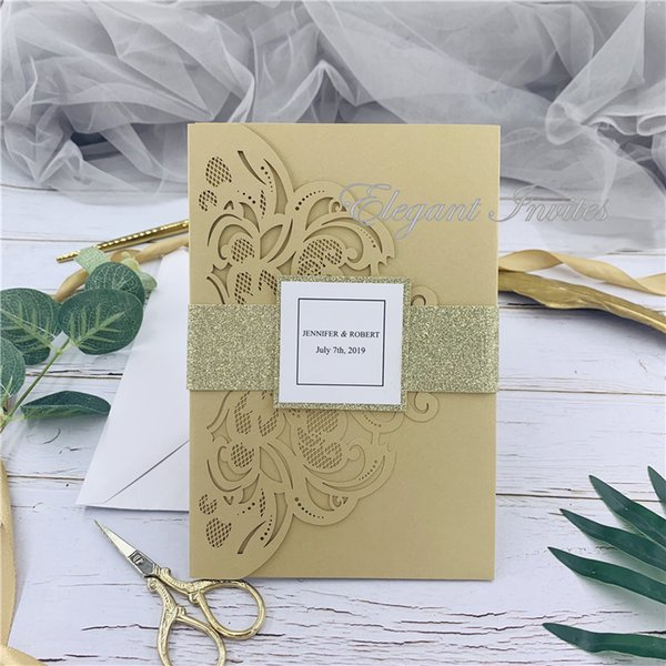 Gold Legant Laser Cut Wedding Invitation Cards Greeting Card Customize Business With Rsvp Cards Decor Party Supplies Free Shippng Wedding Invitation
