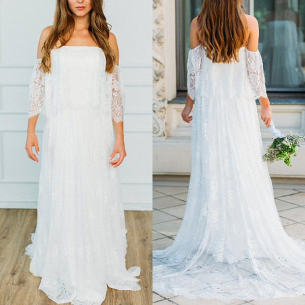 Sexy Bohemian Off Shoulder Wedding Dress Strapless Plus Size Backless Beach Bridal Gown With Long Lace Tail