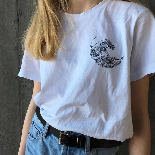cabf3dba90f37c Hokusai The Great Wave T-shirt Grunge Tumblr Tee Harajuku Cute Short Sleeve  Cotton T