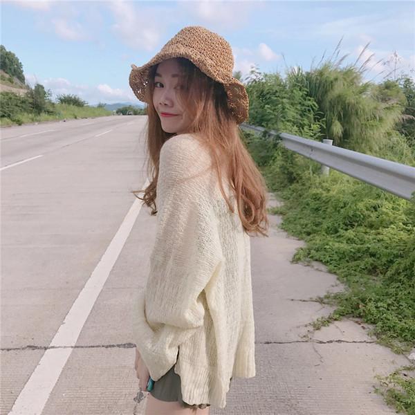Verão Longo-Sleeved Camisola De Malha Longo Cardigan Mulheres Chique Estilo Preguiçoso Seção Fina Solta Selvagem Fino Protetor Solar Camisola Das Mulheres