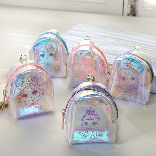 5styles boneca dos desenhos animados do laser coin bag keyholder curto mini carteira de fone de ouvido mudar o dinheiro saco Shell forma de festa favor das crianças presente bolsa FFA2085