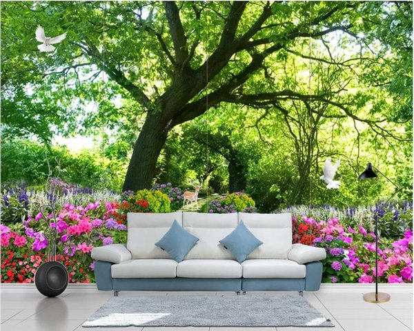 3d wallpaper custom photo mural Fresh green trail flowers big tree pigeon fawn landscape background wall home decor wall art pictures