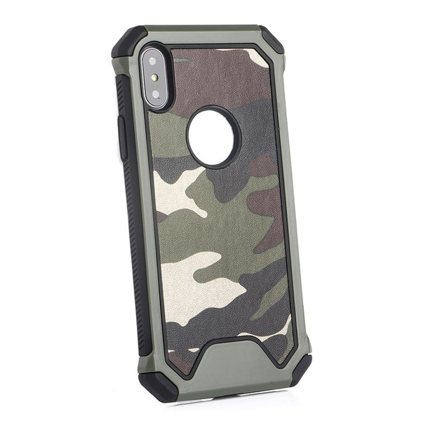 3 In1 Army Green Camouflage Case For iPhone X XR XS Max 8 7 6 Plus Soft TPU Silicon Phone Cases Back Cover
