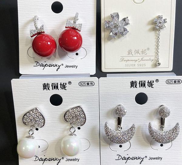 nobles de alta calidad a bajo precio aretes más color cristal de diamante de 925 señoras de plata (1 elegir pares) (18ebv