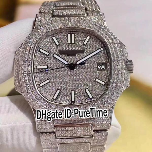 Best Edition Super Jumbo 5719 / 10G-010 Белое золото 18 карат, полностью вымощенное бриллиантами ETA Cal 324SC Автоматические мужские часы с бриллиантовым ремешком, топ TWb2