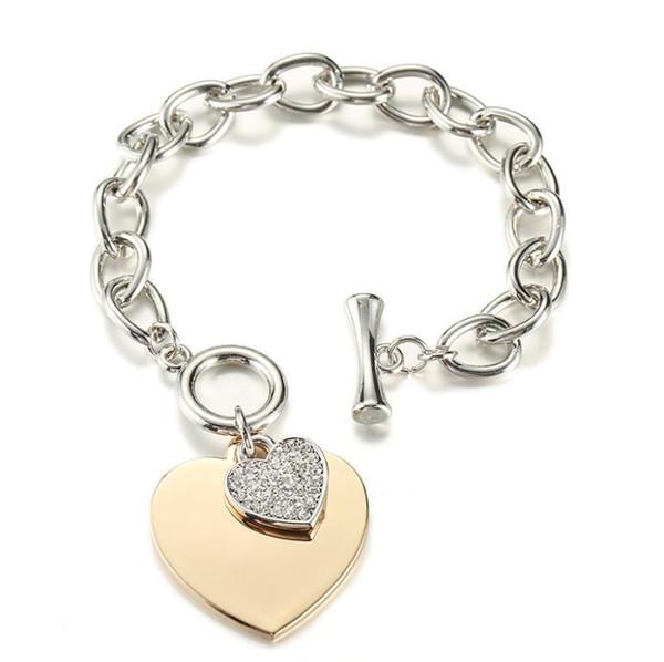 Women Fashion Crystal Bracelets Big Heart Chain Hyperbole Pendant Bangle Rhinestone Wristband Silver/Rose Gold Chic Jewelry