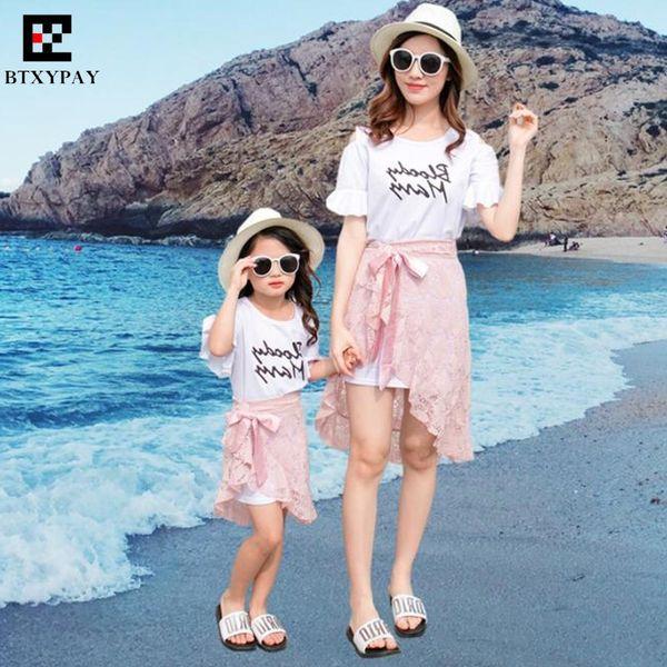 100pcs Summer Mother&Daughter Parent-child Sets Kids Girl T-Shirt&Skirt Family Matching Outfits Women Hollow Lace Skirts&Shorts
