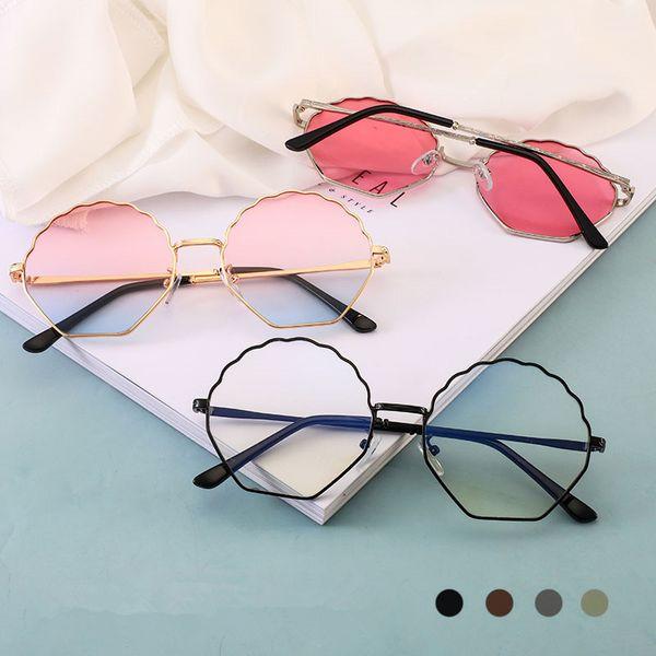 Plum Flower Irregular Sunglasses Women Mental Frame Sunglasses Fashion Retro UV400 Lens Lady Sun Glasses LLA440