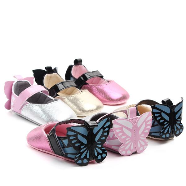 Baby Girls Shoes Butterfly Cartoon Cute Newborn Baby Princess Shoes PU Soft Bottom First Walkers Girls Shoes