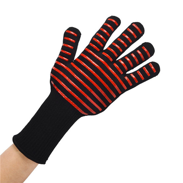Wholesale Oven Gloves resistance high temperature BBQ flame Gloves barbecue microwave oven double silica gel cotton gloves