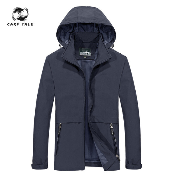 2019 new spring and autumn thin jacket men's hooded jacket loose quick-drying windbreaker outdoor sports stretch single