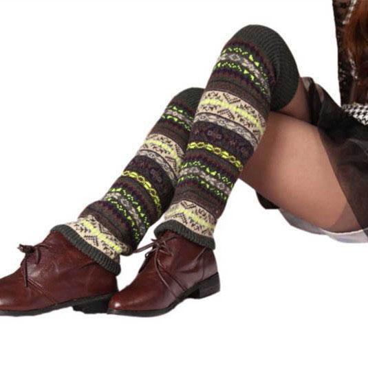 New Knit Camouflage Pattern Long Socks Stocking Boot Loose Leg Warmers Cuffs for Women Drop Ship 010082