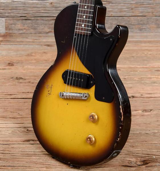 top popular Rare 1957 Junior Sunburst   Dark Brown Heavy Relic Electric Guitar One Piece Mahogany Body & Neck, P-90 Dog Ear Pickup, Wraparound Tailpiece 2020