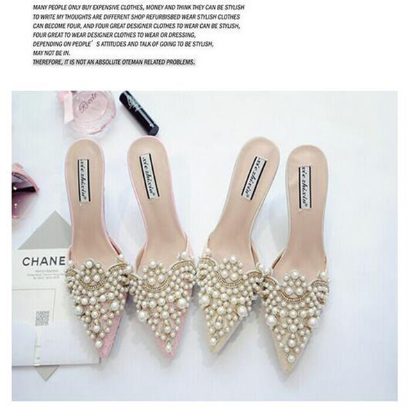 2019 Clearance Pearl Rhinestones High Heels Shoes For Ladies Pointed Toes Shoes Pink And Beige Sandal Free Shipping