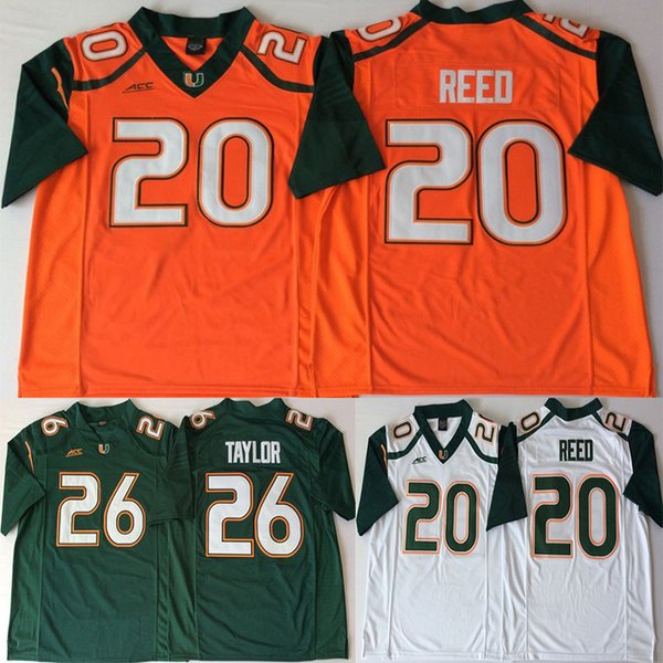 Ncaa 26 Taylor Miami Hurricanes Jerseys 20 Reed ACC Orange Green White Men College Football Jersey
