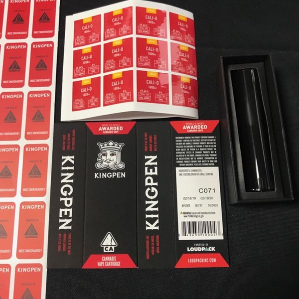 Red Flavors Kingpen Package Bags King Pen Packaging Bag Paper Box Only with Black Plastic Tube and Flavor Sticker for Vape Cartridge Top