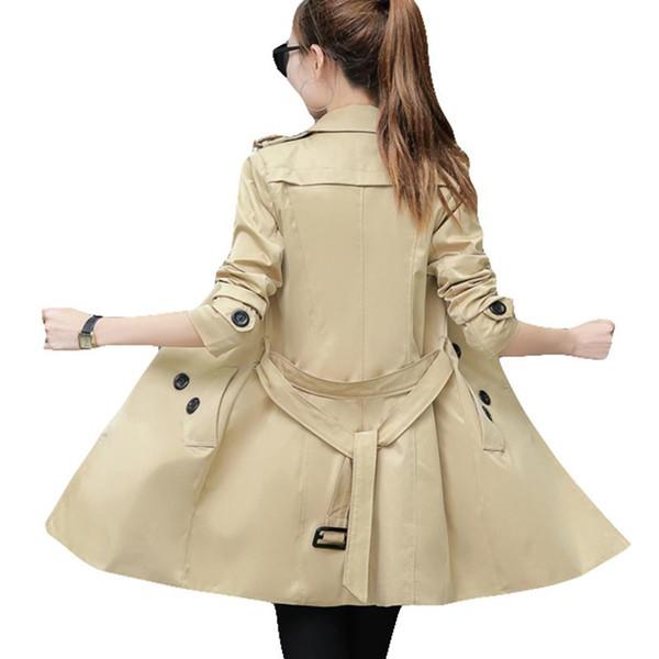 2018 Automne Femmes Double Breasted Long Trench Manteau Kaki Avec Ceinture Classique Casual Bureau Dame Pour Le Travail D'affaires Outwear Automne Nouveau