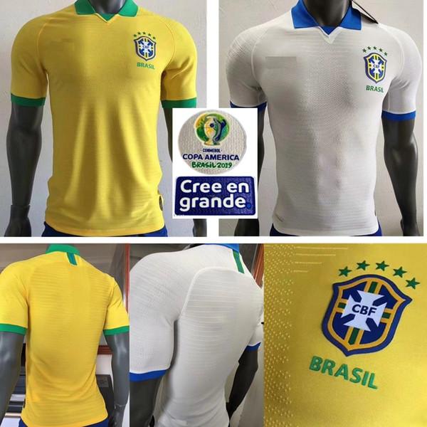 Version du joueur 2019 Brésil Copa America Domicile Jaune Maillot de soccer 19 20 # 11 Maillot de football P.COUTINHO # 12 MARCELO Uniformes de football