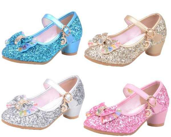 Spring Summer Girls Glitter Shoes High Heel Bowknot Shoe for Children Party Sequins Pink Blue Sandals Ankle Strap Princess Kids Shoes A42506