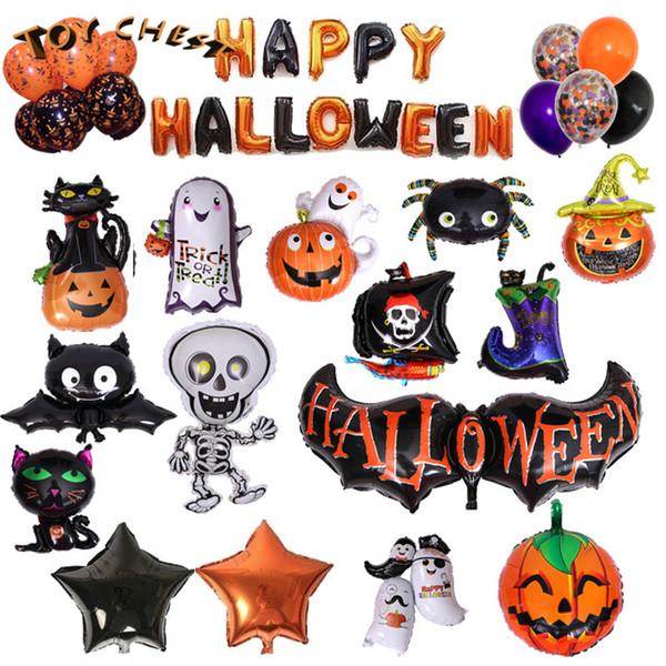 TOY CHEST Marca Venda Quente Atacado Halloween Balões de Festa de Revestimento de Alumínio Morcego Crânio Abóbora Cabeça Bruxa Fantasma Aranha Padrão Para As Crianças
