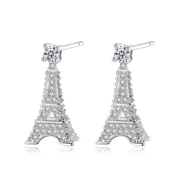 Fashion Design 3D Eiffel Tower Shape Stud Earrings for Women Shining CZ Crystal Diamond Silver Plated Stud Earring Jewelry Gift