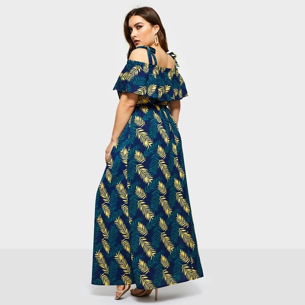 half off best wholesaler coupon code Women Plus Size Maxi Dress Elegant Lace Up Sexy Green Leaves Print Fashion  Robe Travel Holiday Girl Casual Summer Beach Dresses Black Woman Dress ...