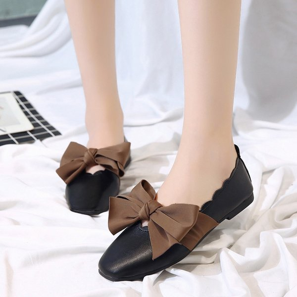 Designer Dress Shoes Women Shallow Bowknot Pointed Toe Low Heel Slip On Single T80726