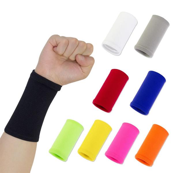 2019 Wrist Sweatband em 9 Cores Diferentes, Feito por alta Elastic Meterial Confortável Pressão de Proteção, pulseiras de Atletismo Braçadeiras # 19375