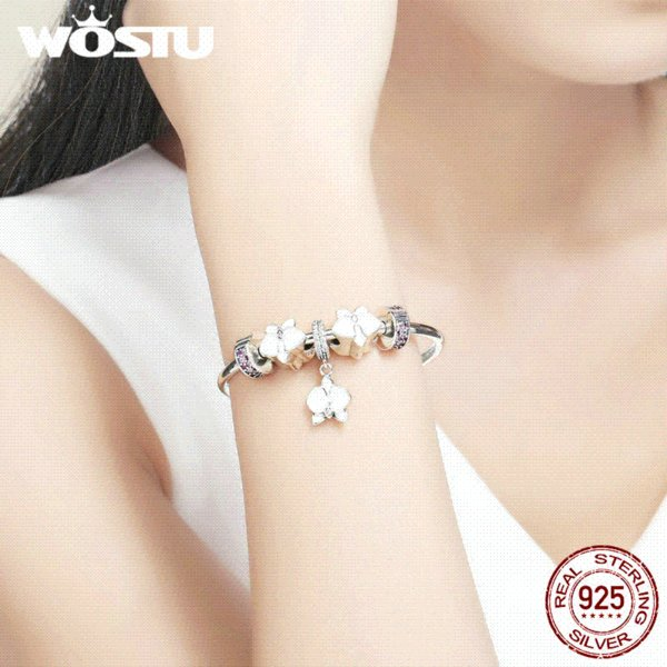 WOSTU Hot Sale 100% 925 Sterling Silver White Orchid Beads Bangles & Charm Bracelet Luxury Sterling Silver Jewelry Gift FLB012