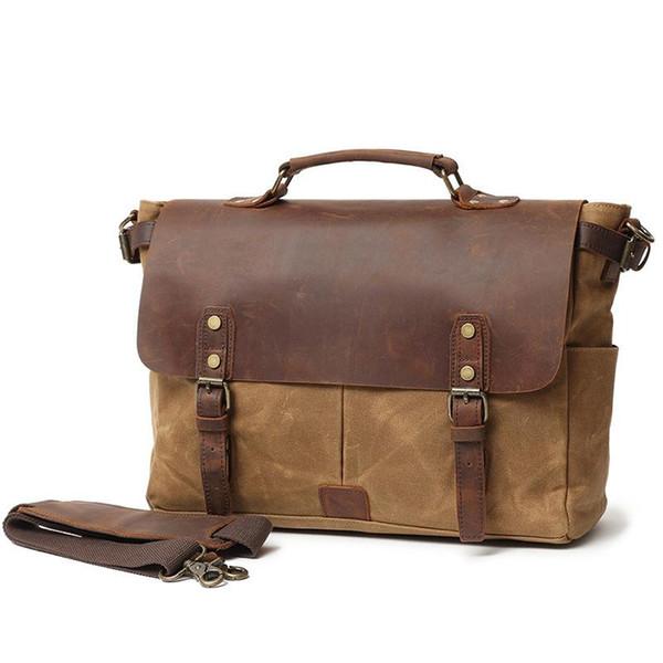 2018 New Business Men/'s Leather Handbag Briefcase Bag Laptop Shoulder Bags