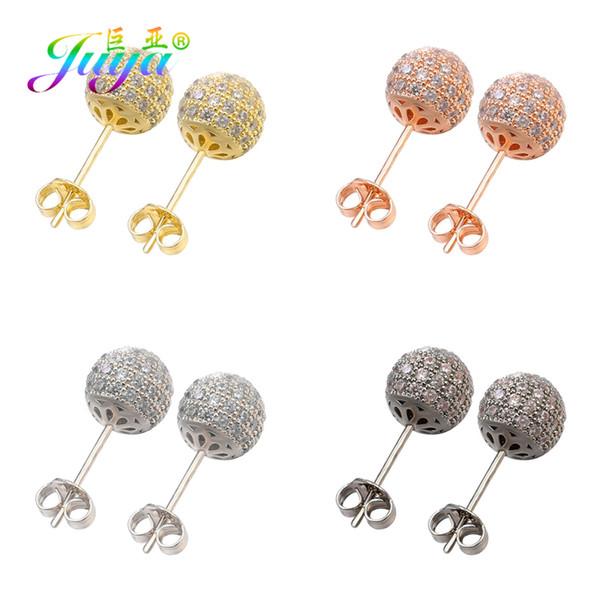 Juya Новое прибытие Али Moda 6мм 8мм 10мм Цирконий Copper Ball Crystal серьги для женщин Блестящая Свадьба партии ювелирных изделий