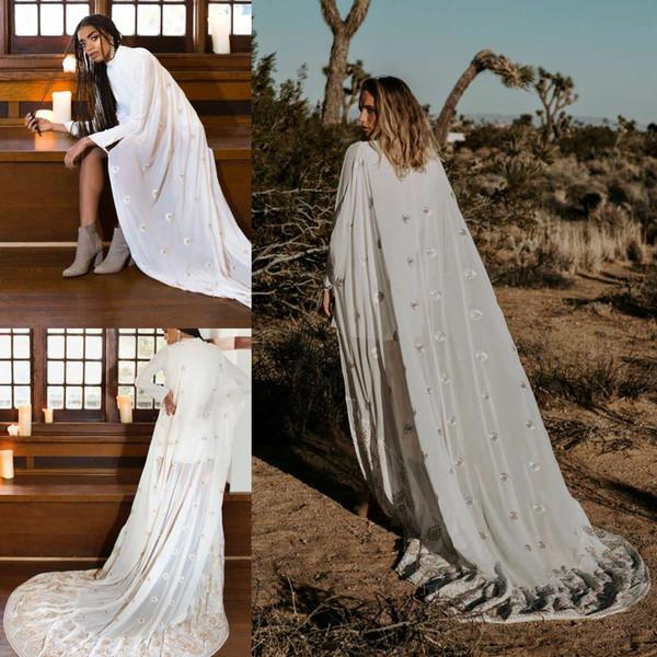 2019 New Arrival Bridal Wedding Cloaks Bolero Jacket Cape Lace Appliqued Wraps Custom Made Shrug Cathedral Train Long Veil