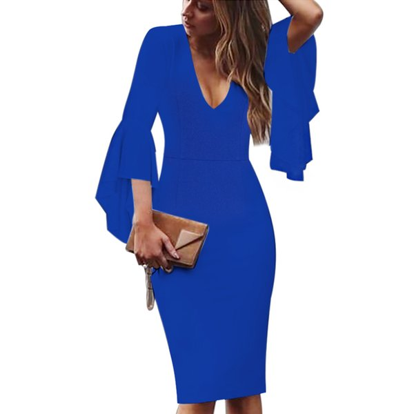 Sexy Womens Deep V-neck Flare Bell Long Sleeves Elegant Work Business Casual Party Slim Sheath Bodycon Pencil Dress 1592 designer clothes