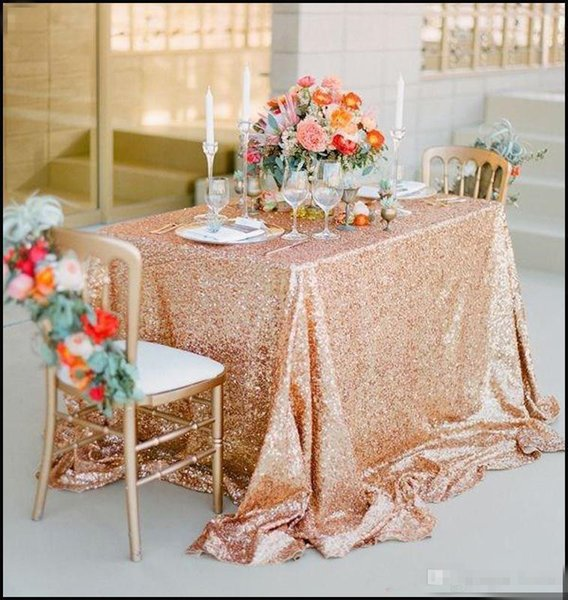 Champagne Rose Gold Sequined Tablecloth Wedding Party Decorations Vintage Sparkly Table Cloth Custom Made dress fabric High Quality