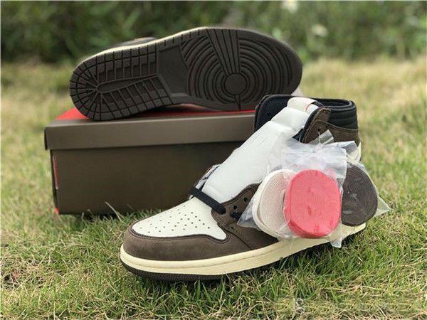 Con la caja Travis Scott logo 1s OG High One Zapatillas de baloncesto Marrón Scott Para hombre Zapatillas de deporte de diseño 1 Zapatillas de skate e02