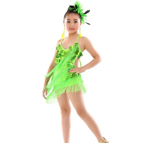 2019 Spring Summer Latin Dance Dress For Girl Sling Sequin Tassel Standard Ballroom Dresses For Kids Performance Wear Clothes M
