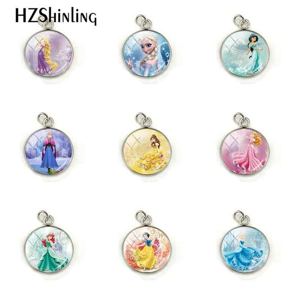 New Arrival Fashion Fairy Tale Lovely Princess Pendant Princess Snow Queen Stainless Steel Plated Charm Jewelry