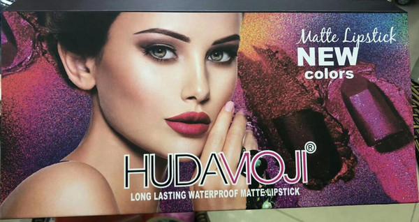 Dhl frete grátis mais novo maquiagem HUDA MOJI 12 cores Batom Set Copo Antiaderente de longa duração à prova d 'água batom fosco