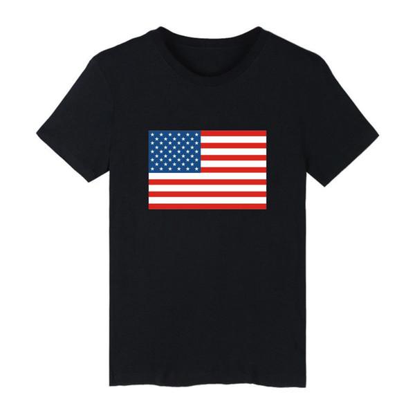 2019 Moda T-shirt Erkek / kadın Amerika Birleşik Devletleri Bayrağı Kanada Rusya Federasyonu Bayrağı Kısa Kollu erkek T-shirt Artı Boyutu