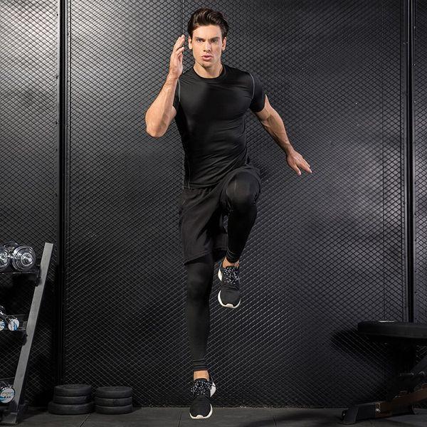 Dry Fit Men Running T-Shirt Fitness Top Tennis Soccer Jersey Gym Training Sportswear Rashgard Men Gym Sport T Shirt