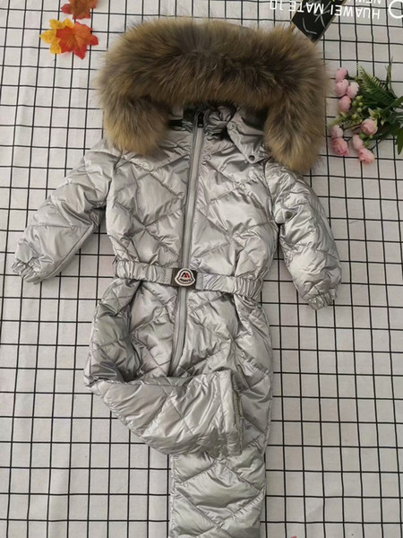Çocuk aşağı ceket kış lüks büyük kürk yaka aşağı ceket marka ördek aşağı tek parça kar suit boy kız kalın ceket rüzgarlık