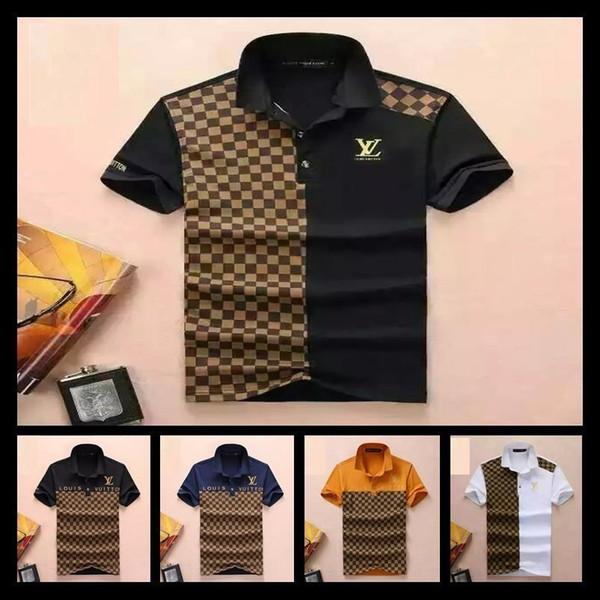 Мужские рубашки поло Snake Bee Вышивка Мужская рубашка поло Дизайн Цветная полоса Футболки поло Размер M-XXL