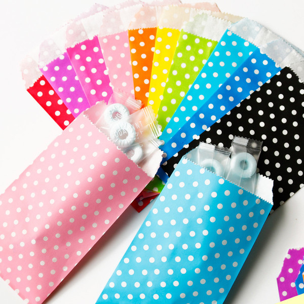 25pcs Colorful Polka Dots Paper Bags For Gifts Party Treat Bag Paper Gift Bag Candy Wedding Gifts Kids Birthday Supplies