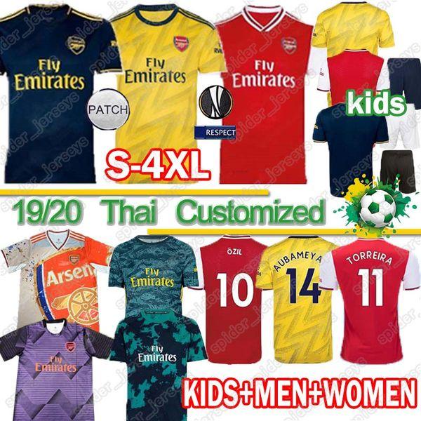 Thai MEN Crianças Conjuntos uniformes 2019 de futebol 2020 Jersey kits Arsen futebol 19 20 TIERNEY HENRY GUENDOUZI topos de futebol camisa de futebol