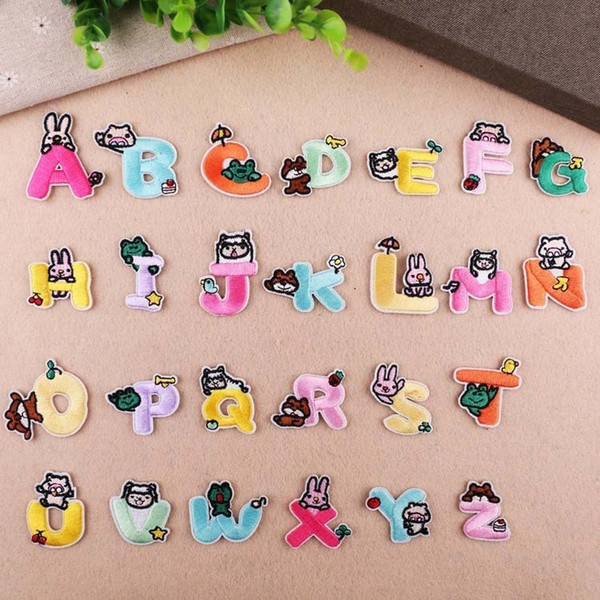 Animal Letter Embroidery Patch Heat Transfers Iron On Sew On Patches for DIY T-shirt Clothes Stickers Decorative Appliques 47246