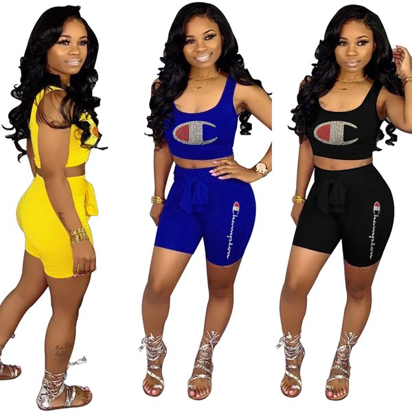Champions Rhinestone Women Tracksuits Summer Letter Two Piece Shorts Set Outfits Sleeveless Vest Crop Top Shorts Set Black Blue Yellow