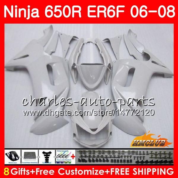 Body For KAWASAKI NINJA 650R ER6 F ER-6F 2006 2007 2008 Cowling 29HC.17 Ninja650R 650 R ER6F 06 08 ER 6F 06 07 08 Fairing Kit pearl white