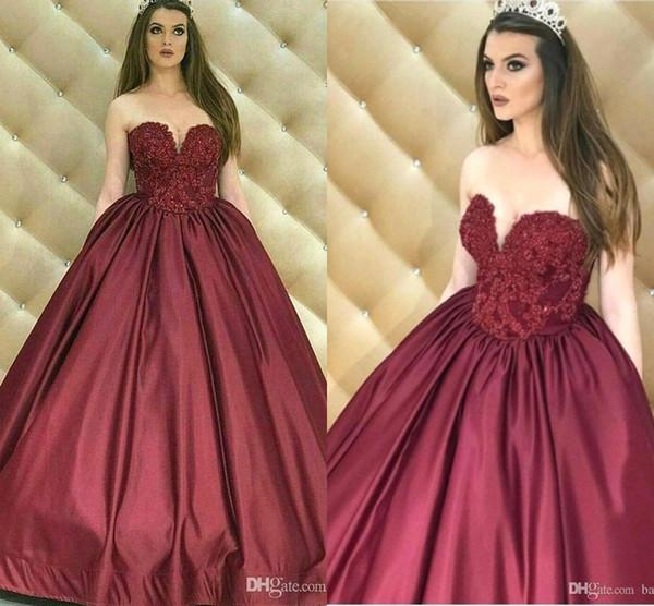 2019 Nuevo Burgundy Ball vestido de quinceañera vestidos de novia de encaje apliques de satén Prom Pageant vestidos de noche dulce 16 vestido de fiesta BC2010