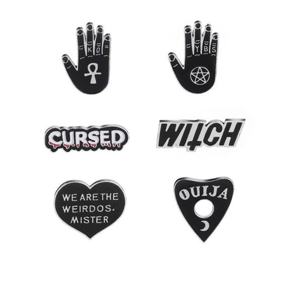 2019 New Cartoon Dark Enamel Pins Star Moon OUIJA Heart Witchcraft Witch Hand Brooches Pins Punk Lapel Pin Buckle Badges Jewelry Gift 180